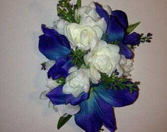 BORA BORA-Hawaiian Hair Clip,Blue,Silk,Dendrobium Orchids,White Tuberose.Beach Brides,Tropical wedding,Hula Flowers,Pinups clip,Blue Hawaii.