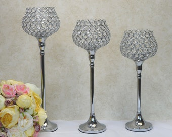 3 pieces Set-Silver Bling Crystal Flower Ball Stand, Wedding Centerpiece, Bling Rhinestone, Candle Holder, Flower Stand.