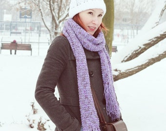 Tunisian crochet Scarf - Purple shades with fringes