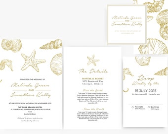 DIY Word Template Wedding Invitation Stationary Set | Editable Word Template | Nautical Sea shells | destination wedding | Gold