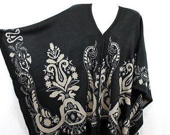 Women winter warm Poncho black printed.
