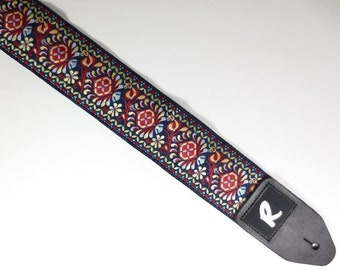 "Woven Guitar Strap - Jacquard Ribbon - Vintage - ""The Royal Flush"""