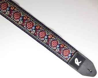 """Woven Guitar Strap - Jacquard Ribbon - Vintage - """"The Royal Flush"""""""