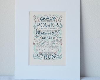 2 Corinthians 12:9-10 Print Bible Verse Art 5x7 Digital Wall Art Gift