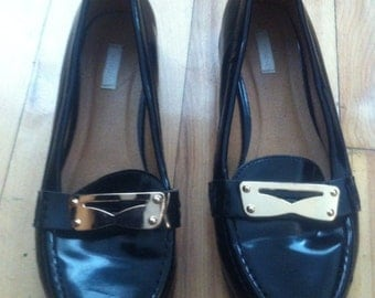 womens size6us black leather loafer