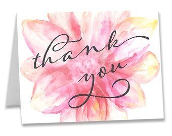 Water Colored Thank You Note / Monogramed Notecard