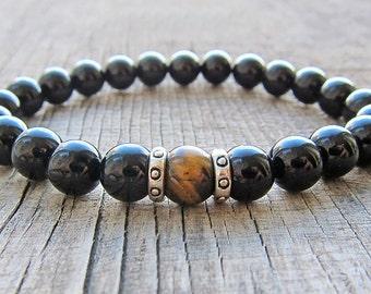 Black Mens Bracelet for men Onyx bracelet Beaded Bracelet Healing Bracelet Gemstone bracelet Fathers day gifts Mens birthday gifts for him