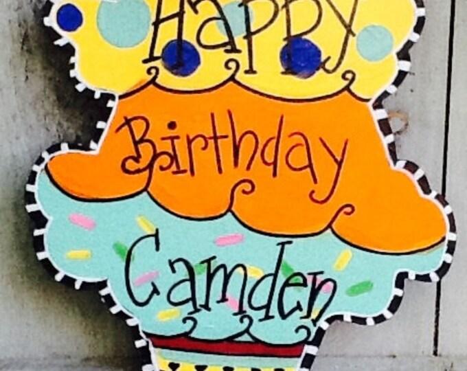Happy summer door hanger, summer door hanger, birthday door hanger, ice cream sign, welcome summer sign, welcome summer door hanger