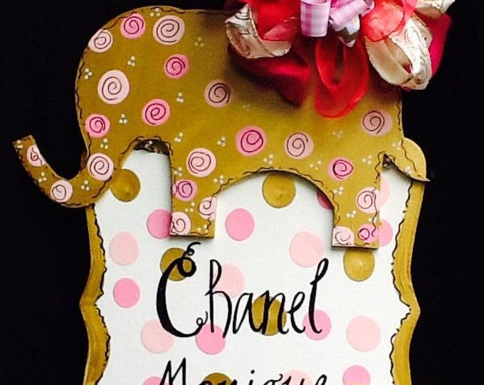 Baby announcement sign, baby hospital sign, elephant sign, newborn announcement sign, newborn sign, nursery door sign, nursery room sign