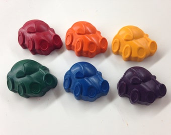 12 Car Shaped Crayons, Transportation Party, Car Party, Race Party, Recycled Crayon, Party favor, Classroom Valentine, Car Valentine, Vroom