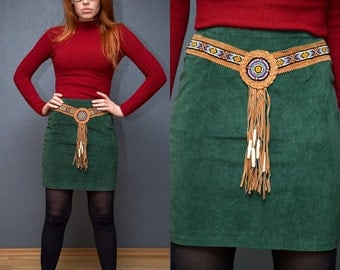 Vintage Green Leather skirt with belt / Size S-M