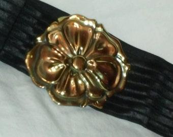 Black Elastic Belt w/ Flower Buckle by Charmant Belts Inc. Beverly Hills