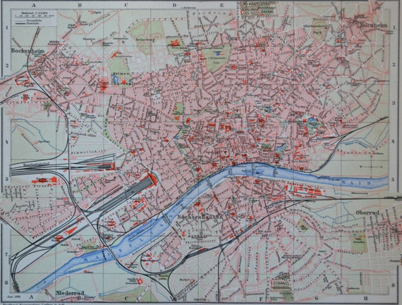 Frankfurt map at the beginning of the 20th century.  Old book plate,1901.  113 years lithograph. 12'3 x 9'8  inches.