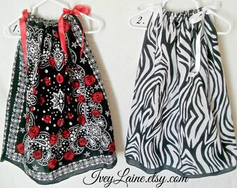Girls Black and White Zebra Bandana Dress or Top Pillow Case Dress