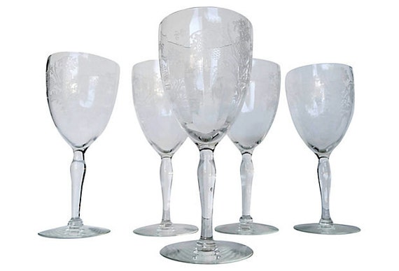 etched cyrstal long stem wine glasses no maker 39 s by fittedfab. Black Bedroom Furniture Sets. Home Design Ideas