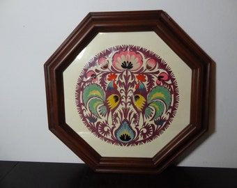 Vintage Framed Polish Wycinanki - Papercut Folk Art - Roosters and Flowers - by Artist Sztuka Lowicka - Made in Poland
