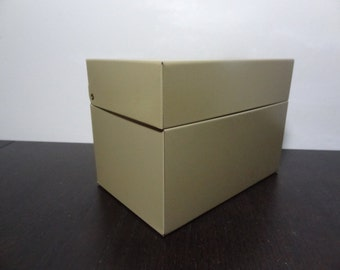 Vintage Beige Metal File Box 6 x 4 in - For Office Desk, Recipes, or Craft Box - Industrial, Mid Century Modern, Retro