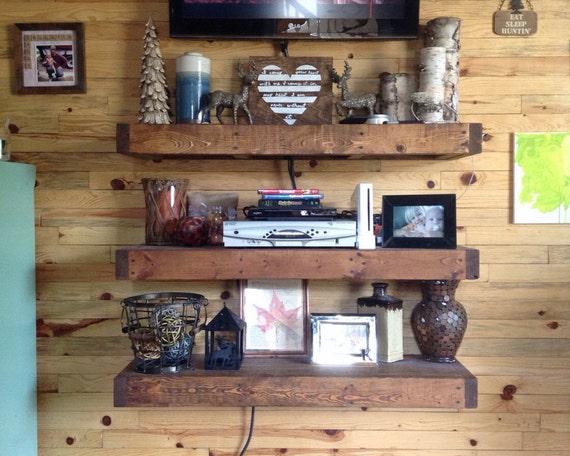Pallet wood floating shelves by kesekreations on etsy for Pallet floating shelves