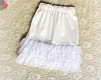 GIRLS SKIRT EXTENDER white skirt extenders lace