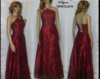BLOODY VAMPIRE DRESS Dia de los Muertos Vampire Costume Hand Painted Devil Size 5 to Size 6 Bloody Vampire Dress by SweetDarknessDesigns