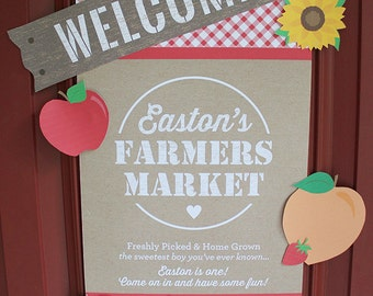 Farmers Market Welcome Sign - Personalized, Digital File, Matching - Farm Party, Garden Party, Fruit, Flowers