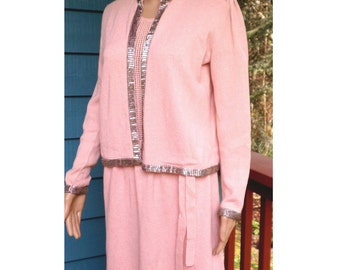 Vintage 70's Pastel Peachy Pink Knit Formal Evening Dress Suit W/ Bugle Bead Trim on Jacket/ Mother of the Bride/ Size Med by Pat Sandler