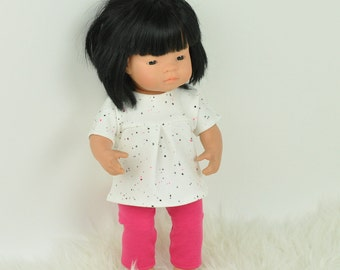 Miniland doll clothes, Miniland doll pink leggins, white tunic, set of 2, 16 inch doll clothes, modern doll clothes