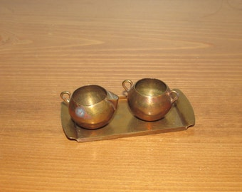 Vintage Brass Doll Furniture Cream and Sugar with Tray Set