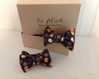 Father and son Rainbow lights polka dot self tie or freestyle