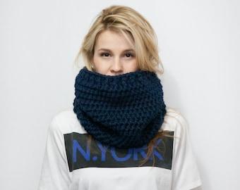 Chunky Cowl Scarf - Women's Neckwarmer - Knitted Cowl - The SPUTNIK Cowl - Snug Neckwarmer in Navy Color
