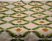 Hand cross stitched antique dresser scarf - greens, yellow, red on cotton cloth - Holiday colours - vintage textiles