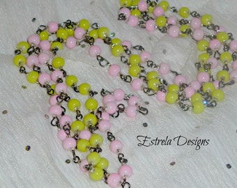 Pinup/Retro Neon & Pastel 1920s  -  Matinee Necklaces (Pink+ Yellow)