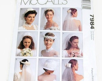 Vintage Bridal Veils Pattern McCALL'S No. 7984 -  1995 - 8 Different Veil Headpieces and One Hat View - Alicyn Exclusives