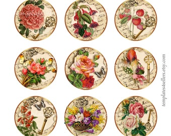 Digital Collage Sheet Vintage Flowers Roses Bouquet 1 inch round  Original  Printable 4x6 inch sheet 274