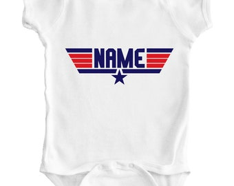 TOP GUN PERSONALIZED Name - Baby Romper / Creeper / Bodysuit / Vest / One piece / Shirt / 80's