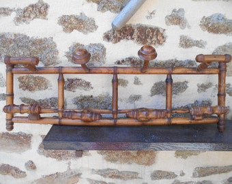 Vintage French Bamboo Entrance Coat/Hat Wooden Wall Rack