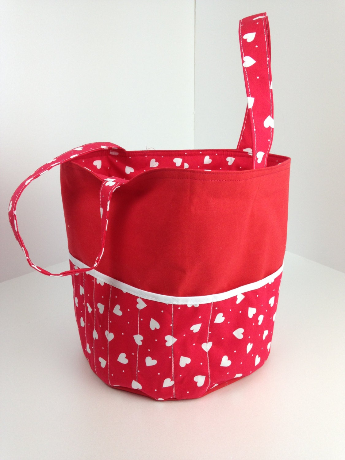 Red Knitting Bag Crocheting Bag Sewing Bag Round Tote