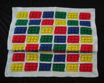 Crochet PATTERN - Legos Inspired Blanket Afghan Throw; Blocks Blanket Pattern; Lego Block Crochet Pattern; PDF download