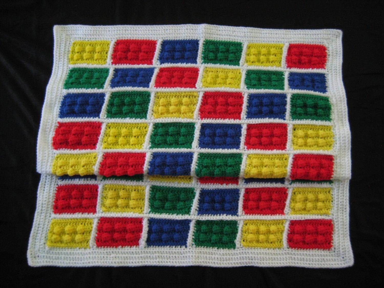 Crochet PATTERN LEGO Blanket Afghan Throw PDF by DACcrochet