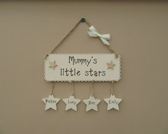 Mummy's little stars Wooden Plaque. Personalised Hanging Stars. Also available in Mum's, Mam's or Personalised. Mothers day gift.