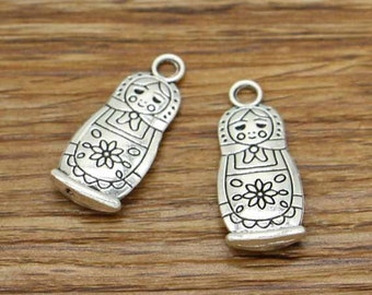 15pcs Russian Doll Charms Antique Silver Tone Matryoshka Charms 12x27mm 2595