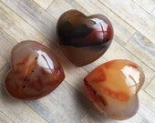Carnelian Gemstone Heart/ Hand carved Heart/ Puffy Heart/ meditation Tool/ reiki/ Crystal heart
