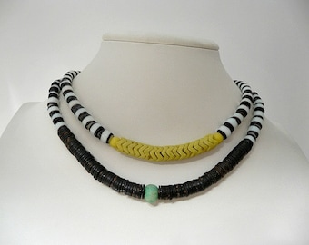 African Trade Beads Necklace Two Variations - Snake Beads/ Granite Gness and Amazonite Bead/Black Coral Heishis CarmaPearls Original