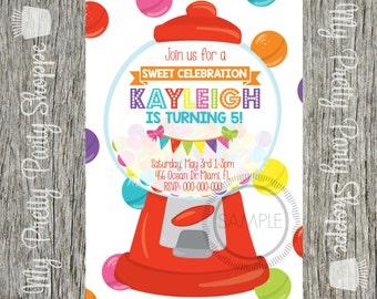 Sweet Shop / Bubblegum / Gumball Machine / Candy / Shoppe / Cupcake / Cake / Sprinkles / Glitter Birthday Party Invitation