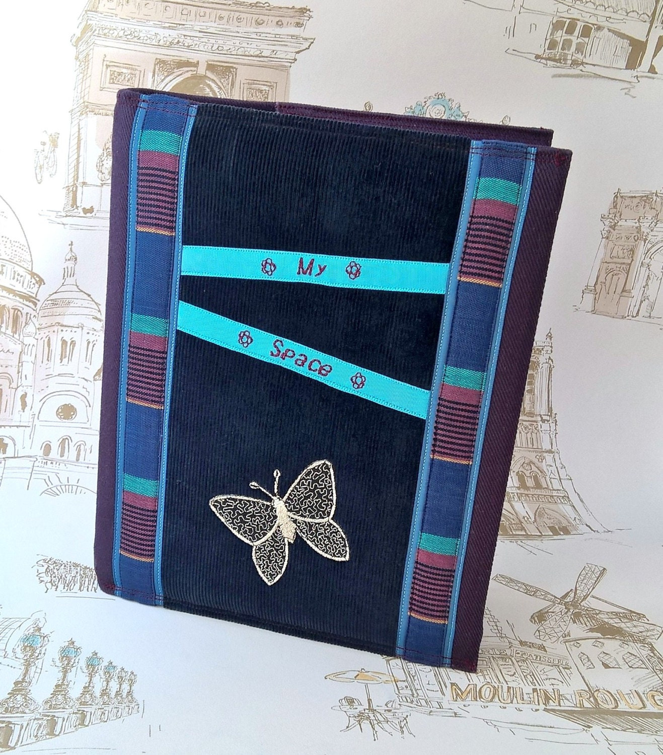 Butterfly A5 Ring Binder Silver Applique Cover Travel Journal