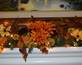 Image result for image of an autumn garland on fireplace mantle