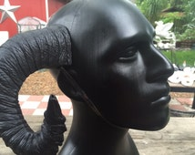 "SALE!! Ram Horns, ""Poe"" Goth Pitch Black Horns - Gothic Satyr Horns - rugged, wearable cosplay horns"