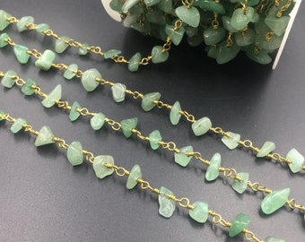 Green Aventurine Rosary Style Chain Green Gemstone Jewelry Chain Wire Wrapped Aventurine Beads Chain Silver/Gold Plating 10Ft
