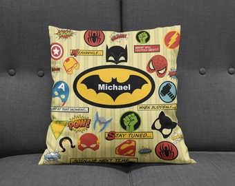 Personalized Super Hero Throw Pillow Sofa Pillows Bed Decor
