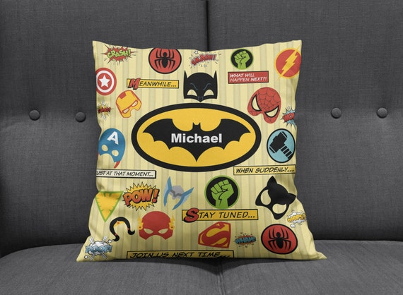 Custom Throw Pillows For Sofa : Personalized Super Hero Throw Pillow Sofa Pillows Bed Decor